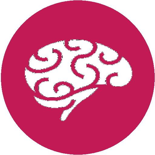cervello stilizzato su sfondo tondo fucsia