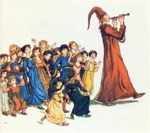 il pifferaio magico guida i bambini suonando il flauto