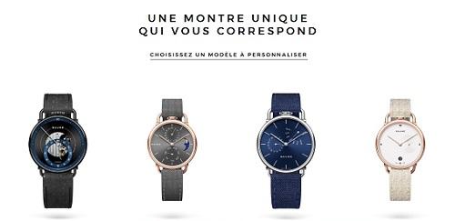 4 orologi Baume in fila con sopra la scritta Un orologio unico che vi corrisponde - scegliete un modello da personalizzare