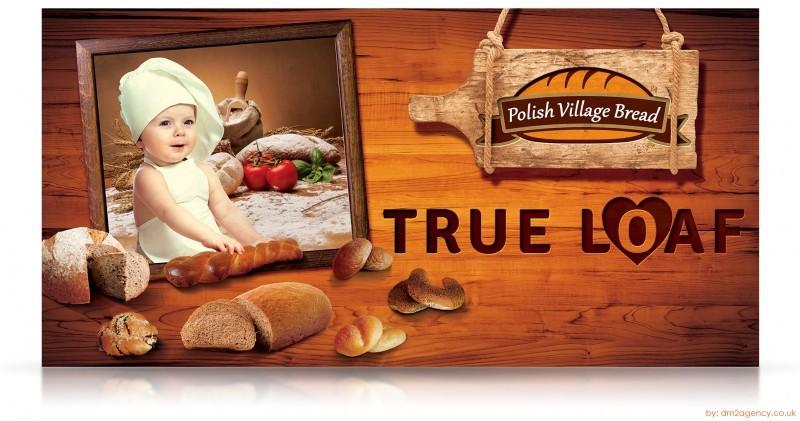 """pubblicità di una apnetteria con foto di un bambino a sinistra che fa il pane e a destra la scritta """"true loaf"""", pani su sfondo marrone"""