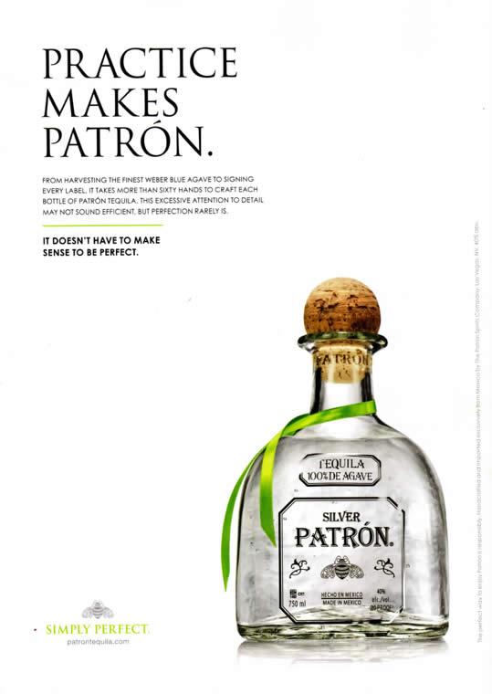 annuncio pubblicitario per la tequila parton con la scritta practice makes patron in altro e la bottiglia di tequila in basso
