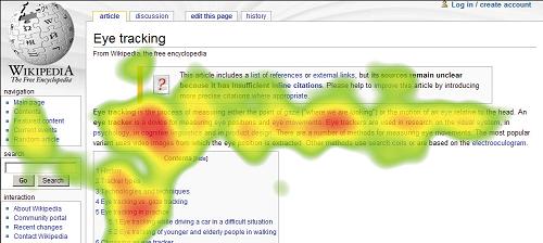 eye tracking di una pagina di wikipedia: mappa colore dal verde al giallo al rosso col crescere delle aree di interesse del lettore