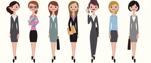 7 donne in piedi di 7 diverse professioni su sfondo bianco