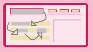 disegno mappa di calore di schermo pc con frecce e aree grigie che mostrano come legge il lettore