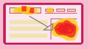 disegno heat map schermo pc con aree colorate che attraggono l'attenzione del lettore