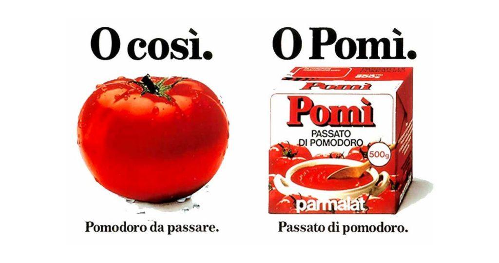 reclame o cosi o pomi con foto pomodoro da passare e cartone di passata di pomodoro