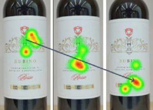 analisi con eye tracker di 3 etichette di bottiglie di vino che mostra i tracciati oculari e le aree di interesse