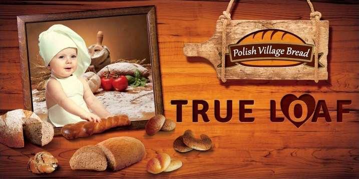 Pubblicità della true loaf: bambino vestito da cuoco prepara il pane