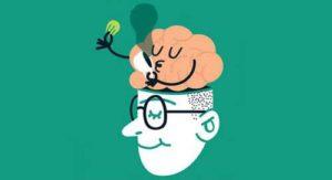 dettaglio libro neuromarketing per il food: un uomo con gli occhiali e sopra il suo cervello che sorride