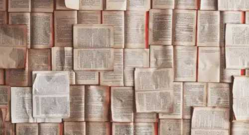 allegoria libri neuromarketing: una trentina di libri aperti e disposti accanto all'altro